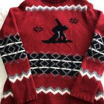 Mens Ski Sweater Red 100% Lambswool Red Old Navy Euc Turtleneck Photo