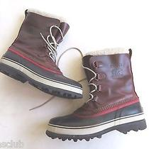 Mens Sorel Caribou Insulated Rubber Leather Waterproof Boots Shoes Brown 13 Wide Photo