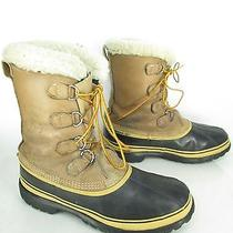 Mens Sorel Cariboy Kaufman Tan Leather Rubber Shearling Insulated Winter Boots  Photo