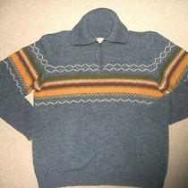 Mens Sweater-the Territory Ahead-Blue/green/orange Lambs'wool Blend 1/4 Zip Po-L Photo