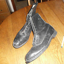 Mens Sz 14 W Vintage 1990 Addison Black Leather Steel Toe Military Jump Boots Photo
