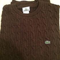 Mens Sz 8 Lacoste Cable Crewneck  Brown  Cable Knit Sweater  Photo