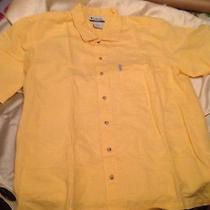 Mens Sz Large Columbia Shirt Yellow Camp Hiking Short Sleeve Ramie Cotton Blend Photo