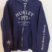 Mens Teen Boys Navy Blue Hurley Hoodie Jacket Sweatshirt Size Large Zipper Front Photo