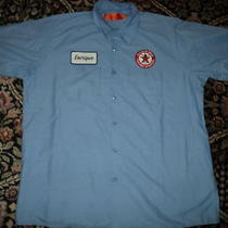Mens Texaco & Name Patch Work Mechanic Shirt Gas Service Station Red Kap Dickies Photo
