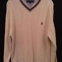 Mens Tommy Hilfiger Sweater Sz M Cable Knit Beige Logo Photo