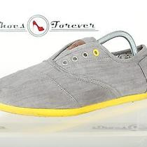 Mens Toms Casual Gray / Yellow Canvas Espadrilles / Keds Sz. 9.5 M Great Photo