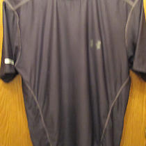 Mens Under Armour Heat Gear  Fitted Black   Shirt Size Md Photo