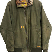 Mens Under Armour Heavy Duty Work Outdoors Hunting Coat Jacket Green Camo Large Photo