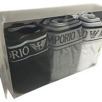Mens Underwear (M) Emporio Armani 3pc Set Blk/grey/wht Cotton Stretch Boxers Photo
