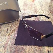 Mens Unisex Gucci Gg 1797/s Nr1 Sunglasses Tortoise Gold Rectangle W/ Case Cloth Photo