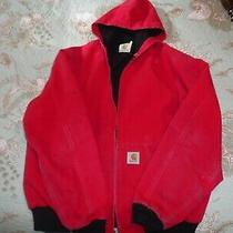 Mens Used Vintage Distressed Carhartt Red Full Zip Work Canvas Jacket Size Xl Photo