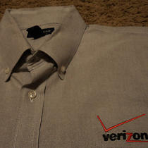 Mens Verizon Wireless Long Sleeve Embroidered Oxford Style Gray Shirt Large  Photo