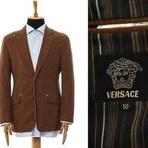 Mens Versace Blazer Coat Jacket Cotton Brown Size 40 50 Photo