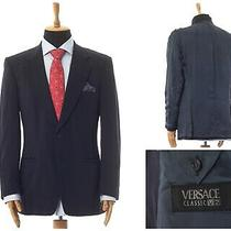 Mens Versace Blazer Coat Jacket Wool Two Button Navy Blue Size 44 54 Photo