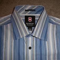 Mens Victorinox Casual/dress Shirt L Multi-Blue Striped 100% Super Fine Cotton Photo