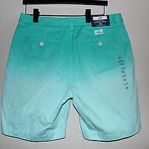 Mens Vineyard Vines Dip Dye Island Shorts Aquinna Aqua Twill Chino Khaki 33 New Photo