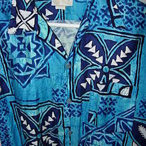 Mens Vintage 1950 Blue Aqua Cotton Tribal Hawaiian Island Aloha Shirt Size M 44  Photo