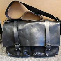 Mens Vintage 90s Dries Van Noten All Leather Messenger Bag Black 15