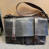 Mens Vintage 90s Dries Van Noten All Leather Messenger Bag Brown 15