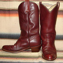 Mens Vintage Frye Maroon Red Leather Cowboy Boots 12 D Very Good Used Condition Photo