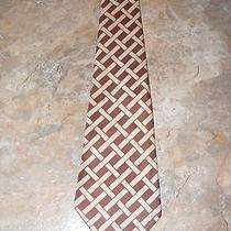 Mens Vintage Givenchy Brown Beige Neck Tie Geometric Woven Stripe Unique Rare Photo