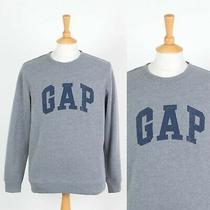 Mens Vintage Retro Gap Sweatshirt Grey Crew Neck Spell Out Sweater Medium M Photo