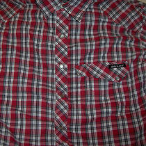 Mens Western Shirt Dickies Coton Blend Red Gray White Black Plaid S/s Small Photo