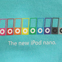 Mens Womens Large Apple Specialist Ipod Nano T-Shirt Aqua Nano Shoots Video Photo