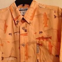 Mens  Xl Columbia River Lodge Pale Orange Fish Print  Shirt Photo