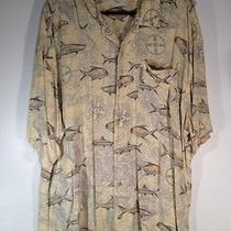 Mens Xl Columbia Short Sleeve Shirt Fishing Print Fish Yellow & Gray Photo