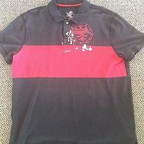 Mens Xl Express Polo Short Sleeve Cotton Red Stripe Pullover Casual Club Golf Photo