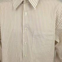 Mens Yves Saint Laurent Striped White Gold Long Sleeve Button Up Shirt Medium 16 Photo