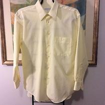 Mens Yves Saint Laurent Yellow White Stripe Button Dress Shirt 16 32-33 Photo