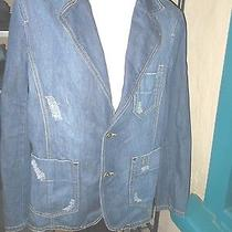 Mens Zara Man Jean Jacket Barn Jacket Distressed Medium  Photo
