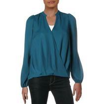 Mercer & Blush Womens Blue Surplice Long Sleeve v Neck Blouse Top L Bhfo 6584 Photo