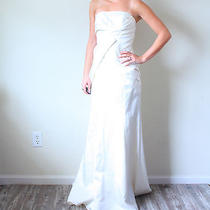 Mermaid Fit Flare White Vintage Inspired Wedding Dress Satin Bow Vera Wang Style Photo