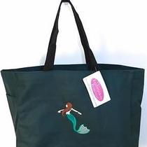 Mermaid Tropical Fantasy Underwater Tote Bag Dark Green Monogram Embroidered Nwt Photo