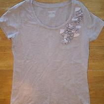 Merona Blush Beige Embellished Tee T-Shirt Top Womens M Medium Photo