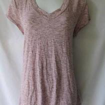 Merona Blush Pink & Gray Knit Shirt Curvy Rayon Long & Lean Short Sleeve Size L Photo