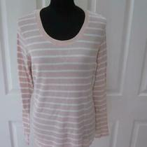 Merona Blush & White Striped Long Sleeve Lightweight Thermal Shirt Top Sz Xxl Photo