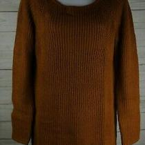 Merona Women Sweater Knit Scoopneck Long Sleeve Size Sp Copper Shine Casual Fall Photo