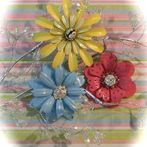 Metal Flower Brooch Pins on Sale 3 Yellow Berry Pink Aqua Metal Flowers Photo