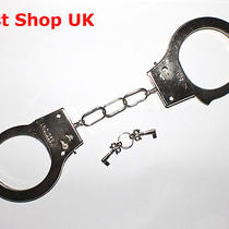 Metal Handcuffs 2 Keys Hen Stag Night Fancy Dress Hand Cuffs Fun Police Cuff  Photo