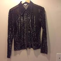 Metallic See Through Black Long Sleeve Shirt Xoxo Size L  Photo