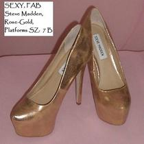 Metallic Steve Madden Rose Gold 5.5 Inch Heels. Worn 1x Gorgeous Stilettos Photo