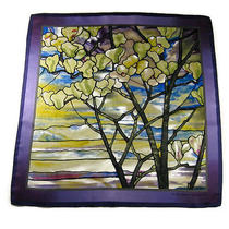Metropolitan Museum of Art 100% Silk Tiffany Magnolias & Irises Neckerchief  Photo