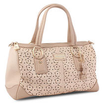 Miadora 'Connie' Blush Laser-Cut Satchel Photo