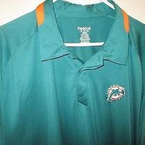 Miami Dolphins Polo Shirt by Reebok-2xl- Dry Fit-Green With Orange -Dolphin Logo Photo