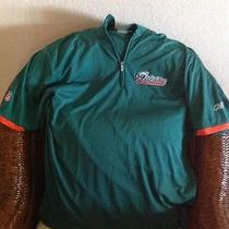 Miami Dolphins Team Issued Zippered Front Polo Player's Shirt Men's Size L Reebk Photo